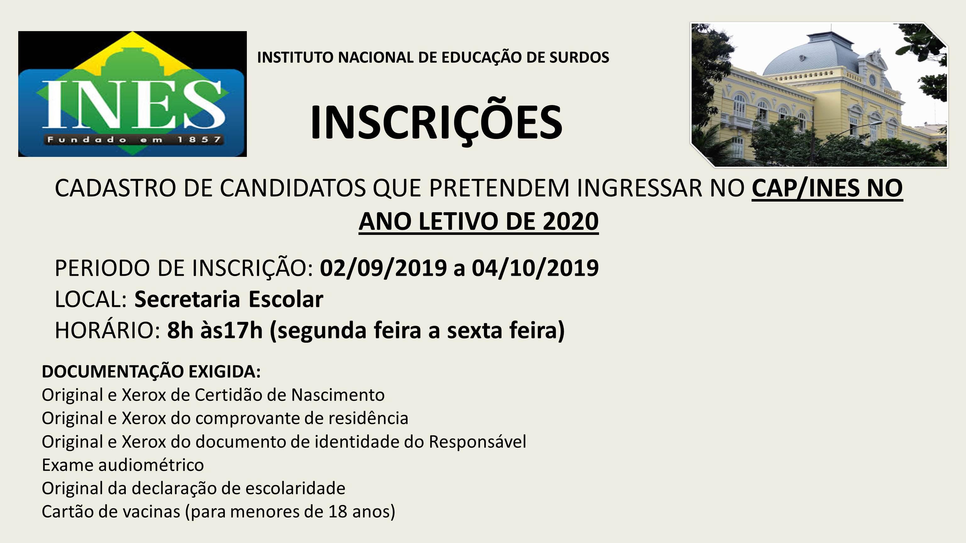 CAP INES 2020 - Inscrição