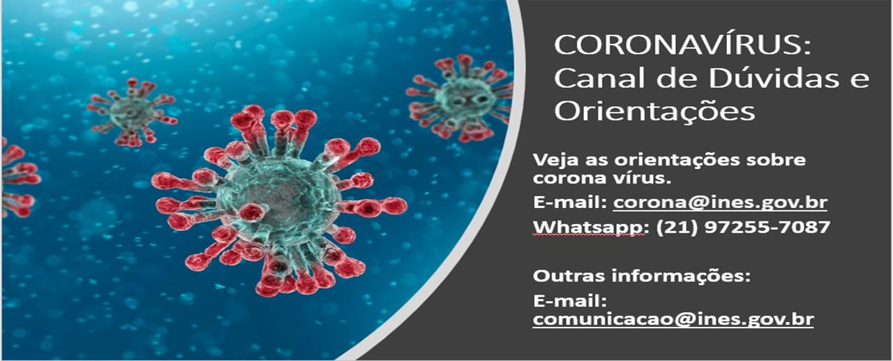 Coronavírus: canal de dúvidas, orientações e informações
