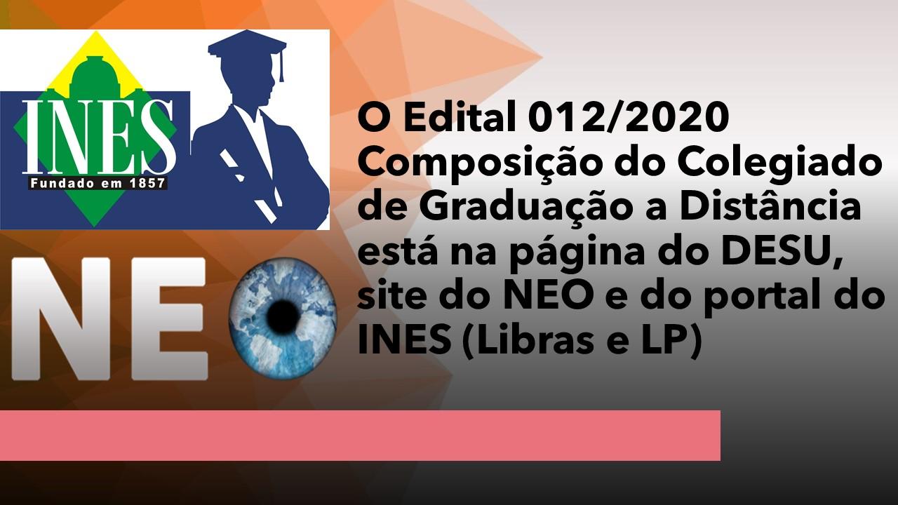 Edital 012/2020 - Colegiado de Pedagogia do NEO / DESU
